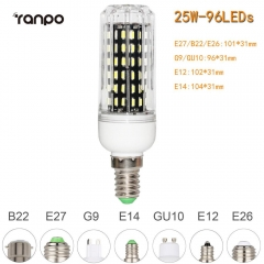 RANPO 25W E12 96leds LED Corn Bulb 4014 SMD Light Cool Warm White Lamp 110V
