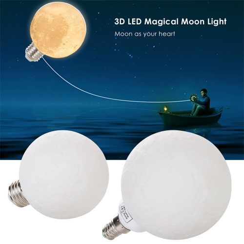 5PCS Ranpo 3D Printed LED Moon Light Bulbs E27 E12 E14 B22 3W 110V 220V White Lamps