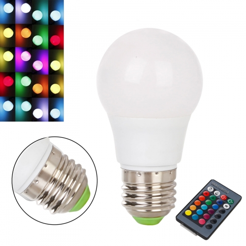 Ranpo Dimmable RGB LED Light Bulb E27 3W 16 Color Changing Magic Lamp Remote