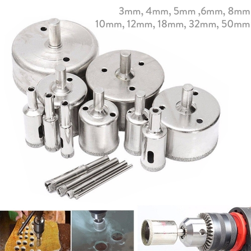 Ranpo 3 Sets 10Pcs Diamond Coated Core Hole Saw Drill Bit Set Tools Tile Marble Glass Ceramic