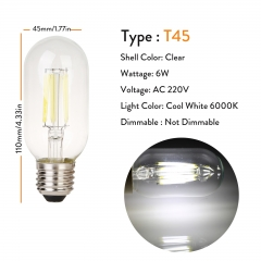 T45 Clear 220V 6W Cool White 6000K
