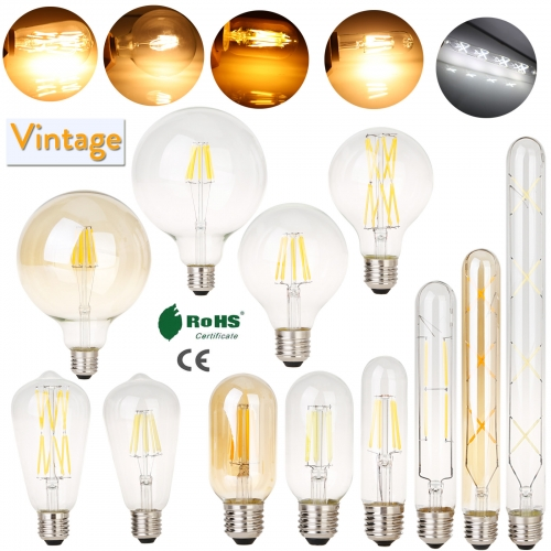 4PCS Vintage Retro LED Edison Filament Light Bulb E27 4W 6W 8W 12W 16W 110V 220V Lamp