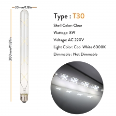 T30 Clear 300mm 220V 8W Cool White 6000K