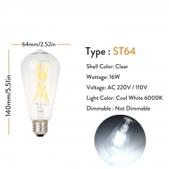 ST64 Clear 220V 16W Cool White 6000K