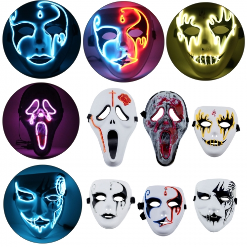 El Wire Light Up LED Mask Neon Rave Horrific Cosplay Party Halloween Costume RP0932