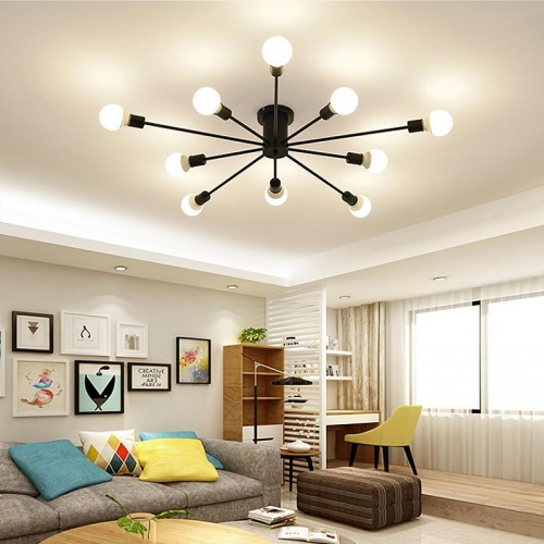 Ranpo Modern Retro Iron LED Chandelier Light Black/White Vintage Spider Ceiling Lamp Light Fixture Lighting
