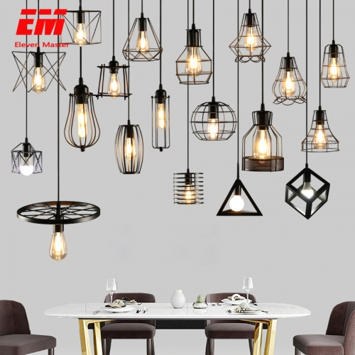 E27 Base Modern Cage Pendant Light Iron Minimalist Retro Scandinavian Loft Pyramid Pendant Lamp Metal Hanging Lamp Indoor