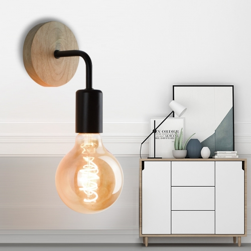 Ranpo 2020 New Morden Wood Wall Lamp Vintage Sconce Wall Lights Fixture E27 110V 220V Bedside Retro Lamp Industrial Decor Dining Room Bedroom Light