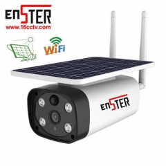 Enster Built-in 10800mA 18650 Lithium Battery 6w Solar Energy Panel Powered Wireless Low Power Smart Security Wifi Camera