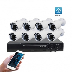 2Megapixels HD Fixed lens 3.6MM AHD Bullet Camera 8Channel DVR Kit for Indoor Outdoor Use