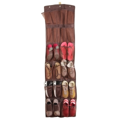 FAMILIFE Over the Door Shoe Organizer for Large Shoe - 24 Pockets, See Through Closet Organizer Hanging Wall Planter