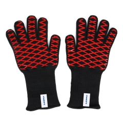 FAMILIFE BBQ Gloves 1 Pair Heat Resistant Gloves, Up to 932°F, 3-layer Structure, EN407 Certified, Long Forearm Protection Grilling Cooking Gloves