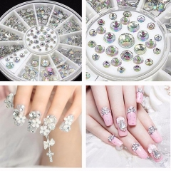 4 Sizes 800 pcs AB Color Acrylic Crystal 3D Nail Art Crystal Glitter Rhinestone Decoration+Wheel Hot Selling