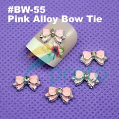 10 x Pink 3D Alloy Bow Tie Nail Art Decorations Cell phone Laptop acrylic Nails decoration