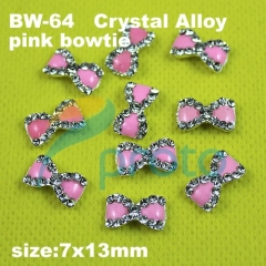 10 x 3D Alloy Crystal Pink Bowtie Metal Nail Art Decoration Cell phone Laptop decoration [retail]