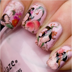 3 pcs Fashion Nail Wrap Water Transfer Nail Art Sticker Geisha Girls Nail Art Decorations Dropshipping