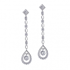Youngpal 925 Sterling Silver Earrings Cubic Zirconia Long Dangle Earring With Gift Box