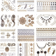 Makartt®12 Styles12 Sheets Pack Gold Metallic Removable Waterproof Temporary Flash Tattoo Stickers