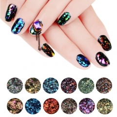Makartt 12 Colors/Pack Chameleon Glitter Flakes Galaxy Nail Sequins Nail Art Powder