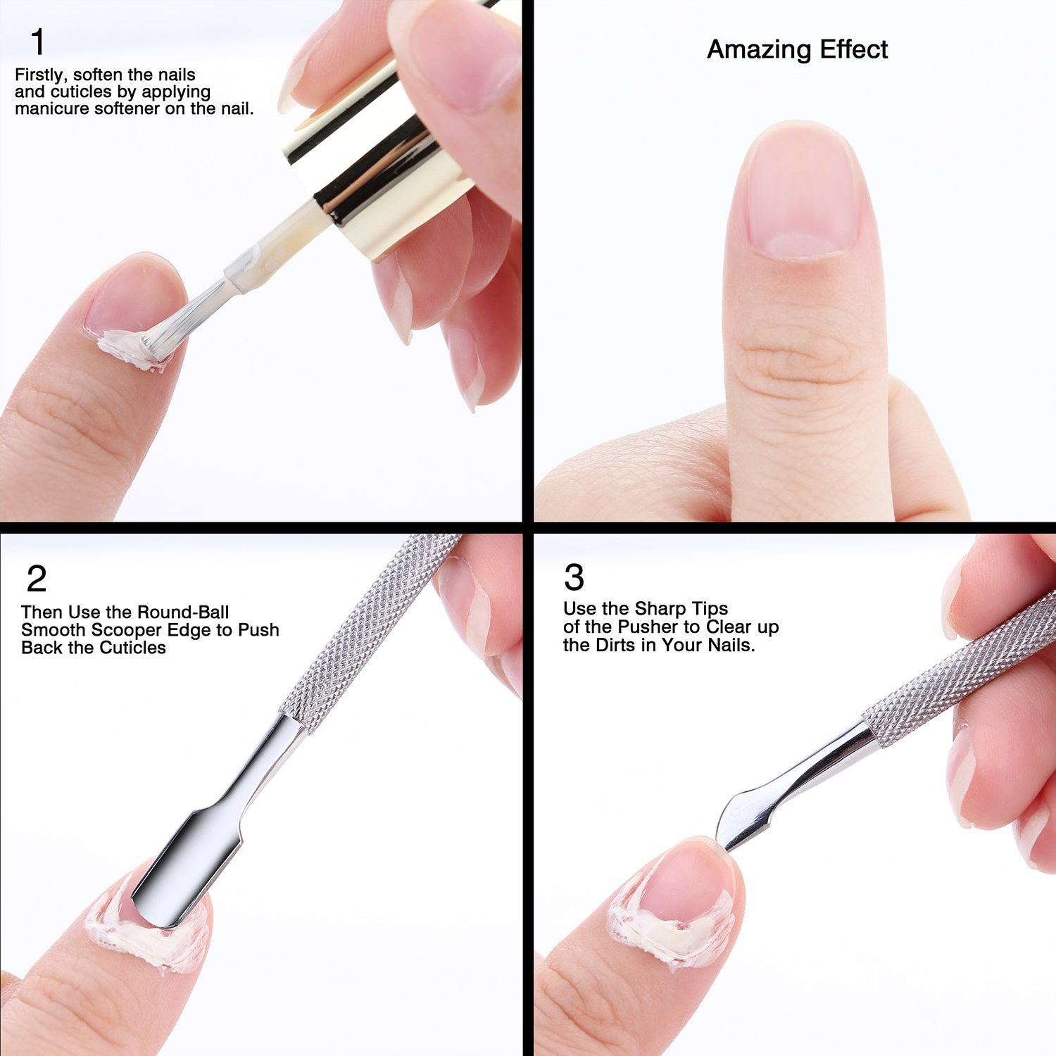 Makartt Professional Cuticle Pusher Cutter and Spoon Nail Cleaner ...