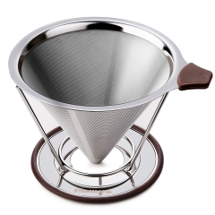 FAMILIFE Reusable Coffee Filter 304 Stainless Steel Drip Cone Dripper with Stand