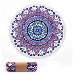 Microfiber Blanket Round Beach Towel for Yoga Mat, Picnic Blanket, Baby & Pet Playing Mat Perfect for Travel With, FAMILIFE