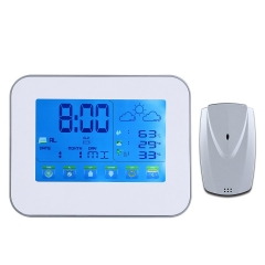 "Healfit 7.2"" Digital Dual Alarm Clock Thermometer Humidity Weather Station Touch Screen LCD Large Display"