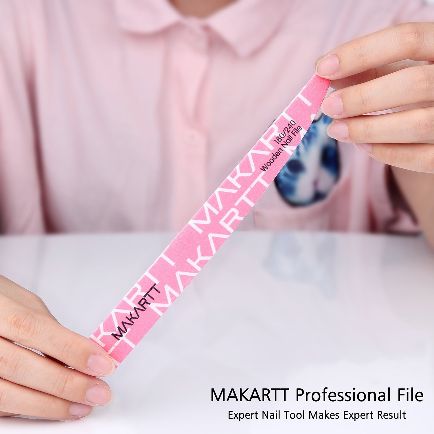 MAKARTT Professional Nail File 100/180 180/240 Grit Wooden Two Sided ...