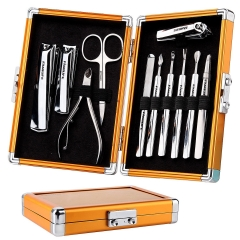 FAMILIFE L05 100% Heavy Duty Stainless Steel 11 In 1 Manicure Set with Luxury Gold Aluminum Gift Case