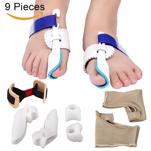MAKARTT Bunion Corrector & Bunion Relief Kit Treat Pain in Hallux Valgus- Bunion Pads, Splint, Bootie, Protector, Guard for Men and Women 9 Packs