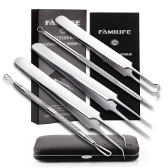 FAMILIFE F01 100% Stainless Steel 5 in 1 Blackhead Remover Kit with Leather Case