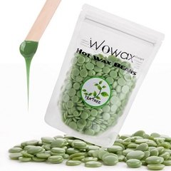 WOWAX Hair Removal Hard Wax Beans, Stripless Hot Wax Beads For Women & Men, 3.5oz(Green Tea Tree)
