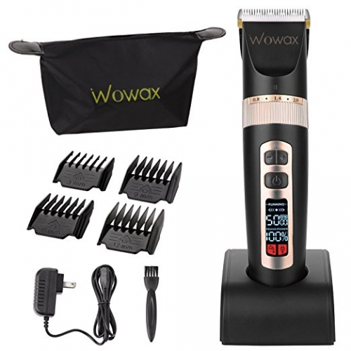 Professional Hair Clipper Cordless Rechargeable LCD Display Trimmer With 4 Guide Comb by WOWAX