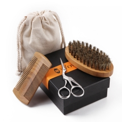 Beard Grooming Kit for Men, Sandalwood Beard Comb, Boar Bristle Beard Brush and Hair Scissors , With Gift Box and Carrying Bag by WOWAX