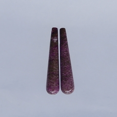 Natural African Purple Stone  Earring Beads 40x8mm,5.6g