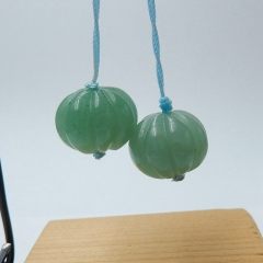 Natural Green Aventurine Round Earrings Beads, stone for earrings making, 17x14mm, 12.1g