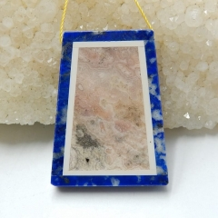 Natural Black Stone, Lapis Lazuli and Argentina Rhodochrosite Intarsia Trapezoid Pendant Bead, 39x30x6mm, 16.2g