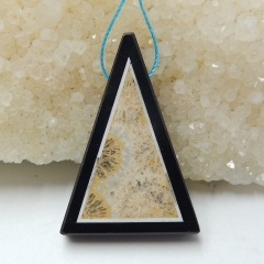 Natural Black Stone And Indonesian Fossil Coral Intarsia Triangle  Pendant Bead, 41x26x6mm, 8.7g