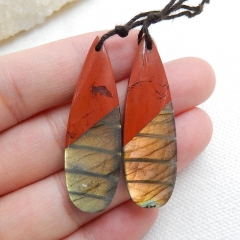 Red River Jasper and Labradorite Intarsia Gemstone Earring Bead, 42x14x5mm, 8.8g