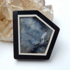 Natural Black Stone And Arborization Opal Intarsia trapezoid Pendant Bead, 43x41x6mm, 21g