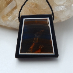 Natural Black Stone and Agate Intarsia Trapezoid Pendant Bead, 23x23x6mm, 6.9g
