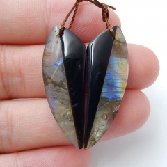 Natural Obsidian and Labradorite Intarsia Gemstone Earrings Bead, 33x13x4mm, 4.3g
