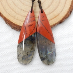 Red River Jasper and Labradorite Intarsia Gemstone Earring Bead, 42x13x4mm, 7.7g