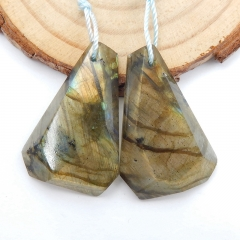 Natural Labradorite Earrings Beads, stone for earrings making, 29x19x5mm, 7.7g