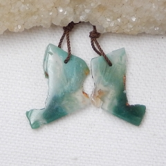 Nugget Moss Agate Earrings Beads, stone for earrings making, 26x19x3mm, 24x17x3mm, 3.2g
