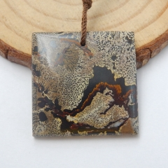 Natural Chohua Jasper Square Gemstone Pendant Bead, 25x4mm, 6.2g