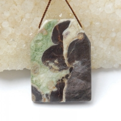 Natural Mushroom Jasper Gemstone Pendant Bead, 39x28x7mm, 15.5g