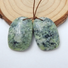 Natural Serpentine Earrings Beads, stone for earrings making, 25x17x5mm, 7.4g