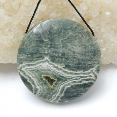 Natural Ocean Jasper Round Gemstone Pendant Bead, 35x9mm, 18g