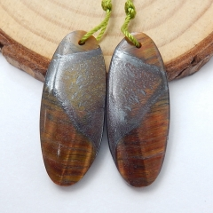 Natural Tiger-Eye Oval Earrings Bead, stone for earrings making, 30X12X4mm, 6.2g